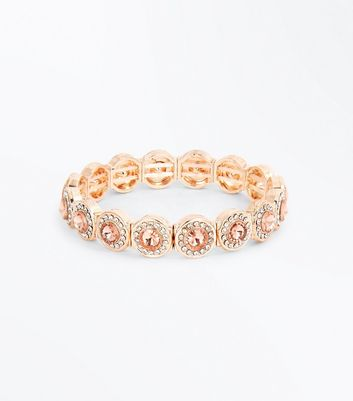 Bracelet or rose à strass