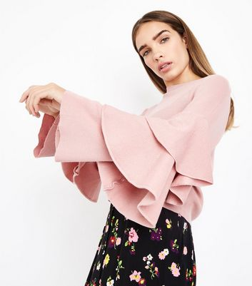 Pink Tiered Sleeve Ribbed Jumper