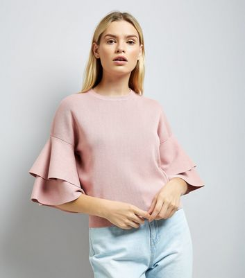 Pink Tiered Sleeve Jumper