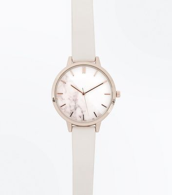Shell Pink Marble Dial Watch