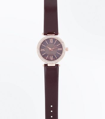 Brown Stone Embellished Dial Watch