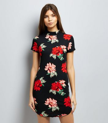 AX Paris Black Floral Print Bodycon Dress