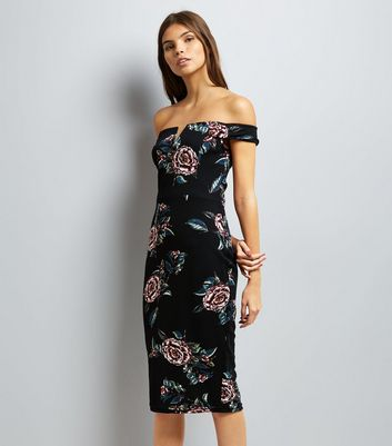 AX Paris Black Floral Print Bardot Dress
