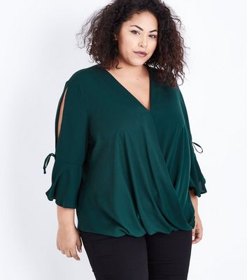 Curves Dark Green Wrap Front Bell Sleeve Blouse