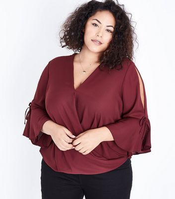 Curves Burgundy Wrap Front Bell Sleeve Blouse