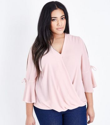 Curves Pink Wrap Front Bell Sleeve Blouse