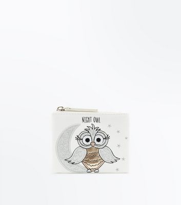 Silver Owl Zip Top Purse