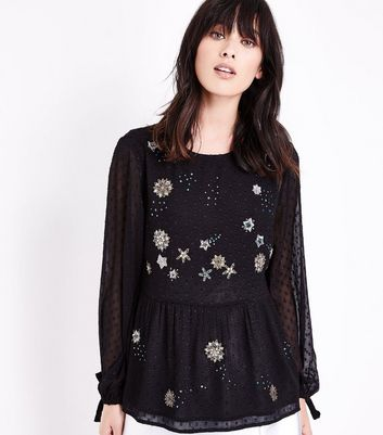 Black Star Embellished Spot Mesh Blouse