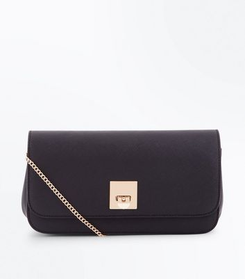 Black Twist Lock Structured Clutch Bag