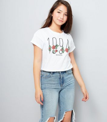 Teens White Floral Brooklyn Crop Top