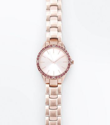 Pink Stone Embellished Sports Watch