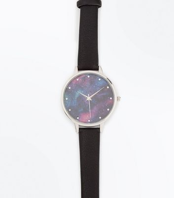 Black Cosmic Galaxy Print Dial Watch