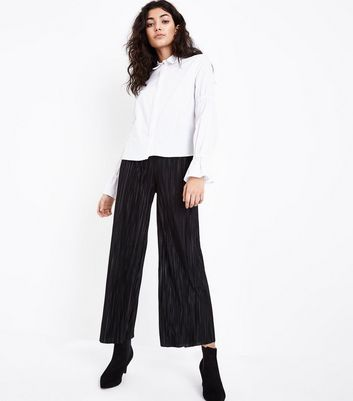 Tall Black Plisse Cropped Trousers