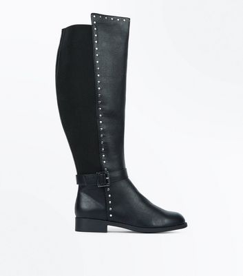 Black Extra Calf Fitting Stud Side Knee High Boots