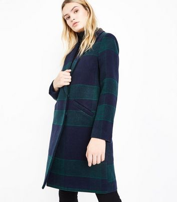 Green Check Longline Collared Coat