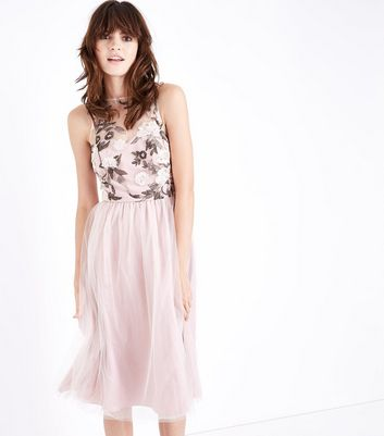Pale Pink Floral Embroidered Mesh Midi Dress