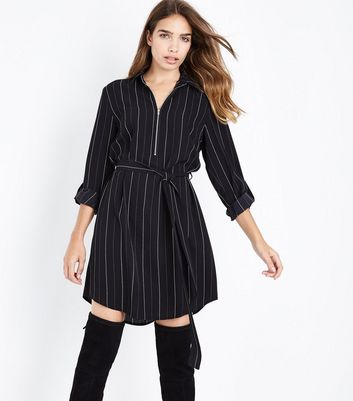 Black Stripe Zip Front Belted Shirt Dress
