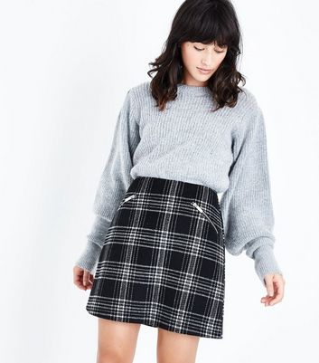 Tall Black Check Zip Pocket Mini Skirt