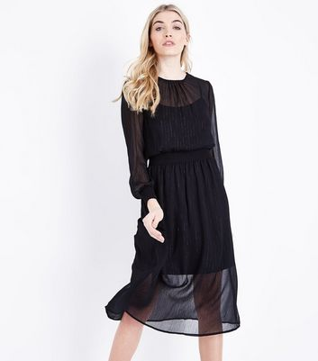Black Glitter Chiffon Midi Dress