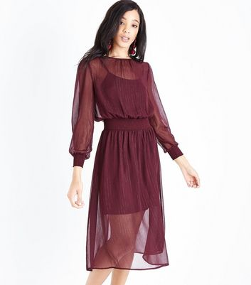 Burgundy Metallic Stripe Chiffon Midi Dress