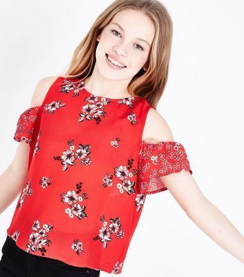 Teens Red Floral Contrast Print Cold Shoulder Top