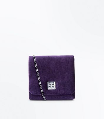 Purple Velvet Micro Chain Shoulder Bag