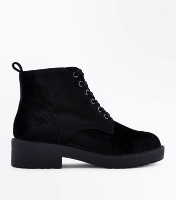 Teens Black Velvet Lace Up Boots
