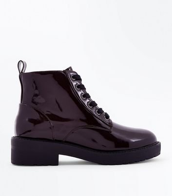 Teens Patent Burgundy Chunky Lace Up Boots