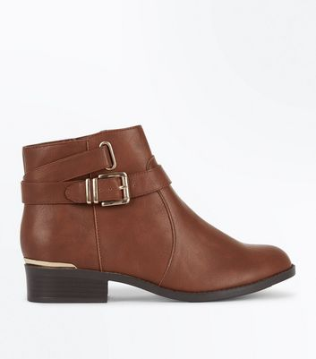 Teens Tan Buckle Side Ankle Boots