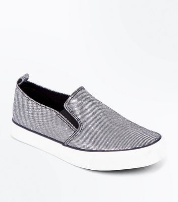 Teens Pewter Glitter Slip On Trainers