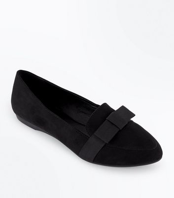 Teens Black Suedette Bow Pointed Loafers