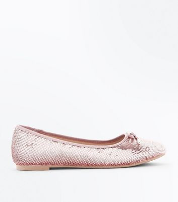 Teens Rose Gold Sequin Ballet Pumps