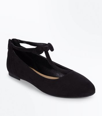 Teens Black Bow Trim Suedette Pumps