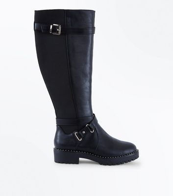 Wide Fit Black Stud Trim Chunky Knee High Boots
