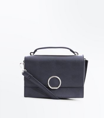 Black Hoop Front Top Handle Bag