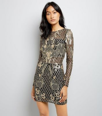 Parisian Gold Sequin Embellished Bodycon Dress