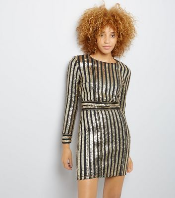 Parisian Gold Sequin Stripe Long Sleeve Dress