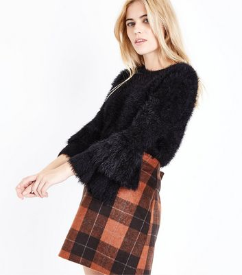 Black Fluffy Tiered Sleeve Jumper