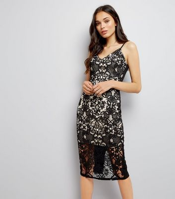 Parisian Black Lace Midi Dress