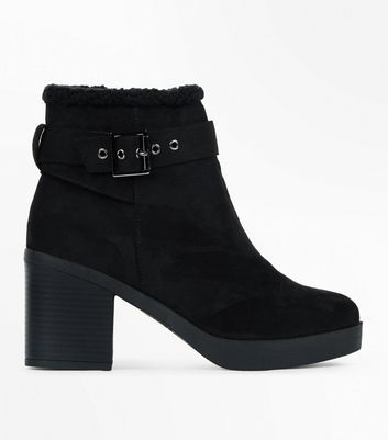 Wide Fit Black Suedette Shearling Block Heel Boots