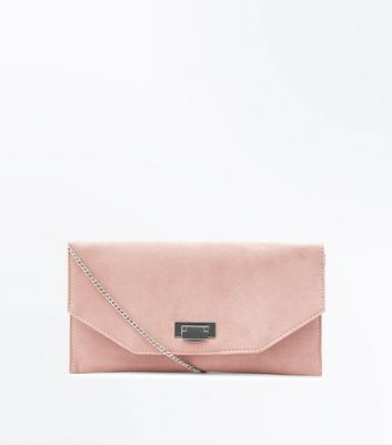 Nude Chain Strap Envelope Clutch Bag
