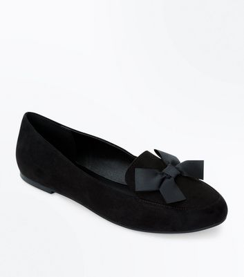 Black Suedette Bow Front Loafers