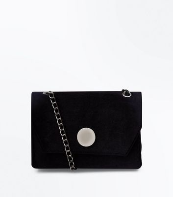 Black Velvet Disc Front Shoulder Bag