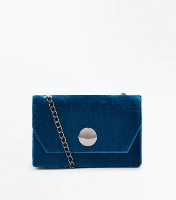 Teal Velvet Disc Front Shoulder Bag
