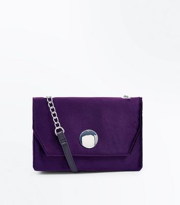 Purple Velvet Chain Shoulder Bag