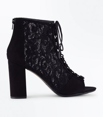Wide Fit Black Suedette Lace Peep Toe Heels