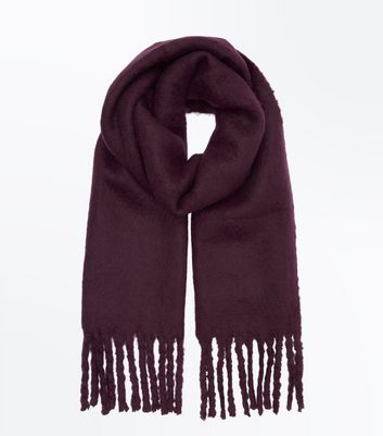 Dark Purple Boucle Fringed Scarf