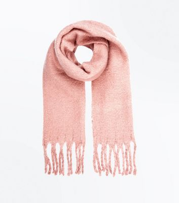 Pink Boucle Fringed Scarf