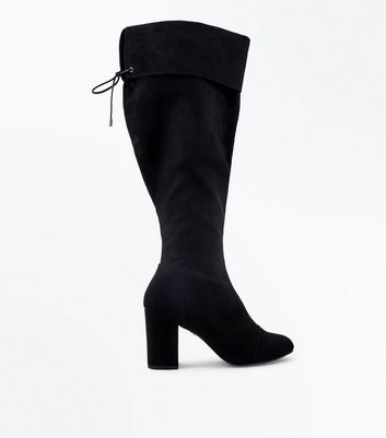 Wide Fit Black Suedette Block Heel Knee High Boots