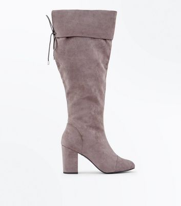 Wide Fit Grey Suedette Block Heel Knee High Boots